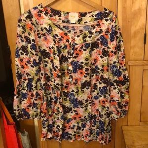 Floral print blouse with blouson sleeves